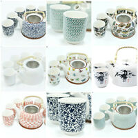 Ceramic Teapot Set - 6 Cups, Herbal Tea Pot, Strainer - Kitchen Home House Gift