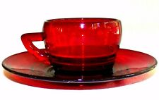 Antique Ruby Red Glass Coffee Cup Tea Cup & Saucer Set 1900's Rare Red Glass