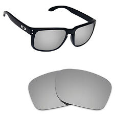 Hawkry Polarized Replacement Lenses for-Oakley Holbrook Silver Titanium Mirror