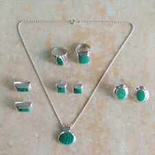 ~Southwestern~ Mexico 925 Sterling Silver Malachite Mixed Jewelry Lot