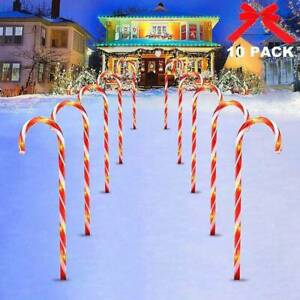 10Pcs Christmas Candy Cane Pathway Marker Lights Yard Lawn Pathway Outdoor  wei