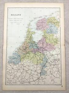 1891 Antique Map of Holland The Netherlands Dutch City 19th Century Original