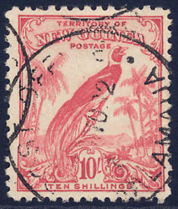 NEW GUINEA 1932-34 BIRD 10/- PINK VERY FINE CDS USED. STANLEY GIBBONS 188.
