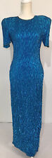 New listing Vintage Laurence Kazar Long Sequin Silk Turquoise Blue Formal Dress Size Medium
