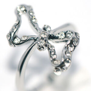 Womens Girls Rings bowknot Rings Silver White Gold Crystal rhinestone Size 6