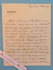 L.A.S 1927 Joseph CAILLAUX à Maurice ROSTAND - ROYAT Sénat lettre autographe LAS
