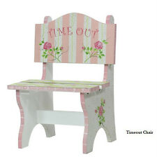 """GirlsToddler Shabby Pink & White Rose Princess """" TIME OUT """" Wooden Chair"""