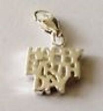 LOVELY SILVER HAPPY BIRTHDAY CLIP ON CHARM FOR BRACELETS - SILVER PLATE