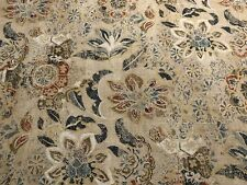 Lee Jofa Linen Floral Upholstery Fabric- Woodcut Indigo Coral 6.50 yd 2007159.57