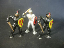 Old Vtg LOT of 3 Lead Soldiers Train Garden Figures Shield Sword Mask Toy