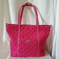 Vera Bradley Hot Pink Fuchsia Trimmed Microfiber Solid Traveler Tote Bag Weekend