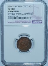 1864 Ngc Au Details Fs-2306 L On Ribbon Indian Cent Rpd Repunched Date