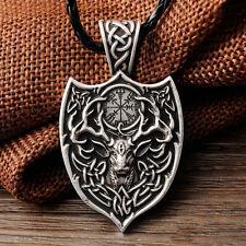 Legendary Viking Aegishjalmur Amulet Pendant Large Deer Sekira Viking Nordic