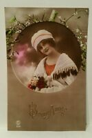 Bonne Annee Beautiful Woman Paris France Postcard PC No. 255 rare vintage photo