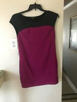 Express Women's Size XS Short Sleeve Knee Length Solid Purple & Black Dress