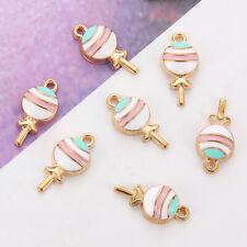 10pc Lollipop Enamel Alloy Charms Pendant For DIY Bracelets Necklace Accessories