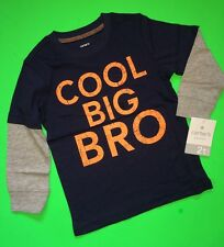 "NEW* ""COOL BIG BRO"" Baby Boys Carters Graphic Brother Shirt 5T Gift! Nice"