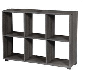 Mobile libreria moderna legno mdf 6 cubi 2 ripiani parete attrezzata 60x90x24 cm