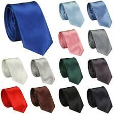 Mens Silk Tie Classic Solid Plain Formal Wedding Necktie Smart Party Office