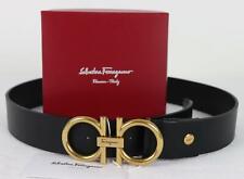 Authentic Salvatore Ferragamo Black Calfskin Leather Belt GOLD Gancini Buckle