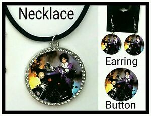 Prince Purple Rain Necklace, Earring and button set
