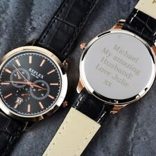Personalised Men's Wristwatch Watch Engraved Fathers Day Grandad Birthday Son