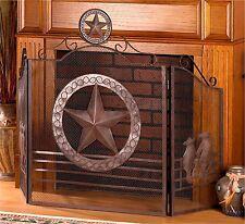 "Texas Style Southwestern** RUSTIC ""LONE STAR"" FIREPLACE SCREEN *51""W x 35""H* NIB"