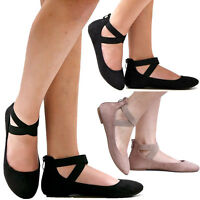 New Women AD2S Black Taupe Vegan Suede Mary Jane Ankle Strap Ballet Flats