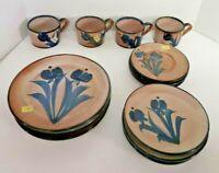 Fatto A Mano Rare Stoneware Dining 16pc Set Cerasarda Pottery Cobalt Blue Italy