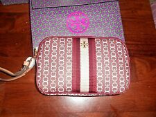 AUTHENTIC TORY BURCH GEMINI LINK CANVAS WRISTLET BNWT $ 128.00 ROYAL BURGUNDY