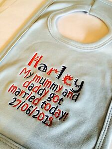 PERSONALISED COTTON BABY WEDDING BIB MUMMY AND DAD GOT MARRIED, ANY MESSAGE,GIFT