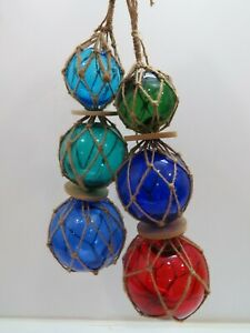 "TWO  3""4""5""  DIFFDERENT COLORS TRIO CURIO GLASS FLOATS BALLS BUOYS BOUYS NET"