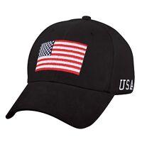 USA Flag Black Low Profile Baseball Cap US Patriotic Hat Ballcap Rothco 4619 9818558fa83