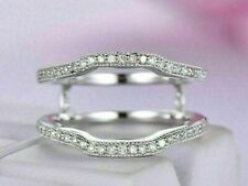 0.65Ct Round Diamond Curved Enhancer Wedding Band Ring Guard 14K White Gold over