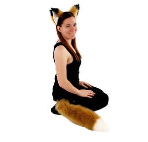 PAWSTAR Furry Fox Ears & Tail Set - Headband Costume Tan Butterscotch[BU/WH]4007