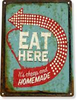 Eat Here Diner Restaurant Retro Rusty Rustic Metal Decor Sign