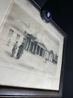 Quaint Antique Etching in Oak Frame by Gertrude Hayes titled The Academy