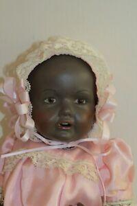 """Artist antique reproduction JDK Kestner Porcelain Black Baby Hilda 15"""" doll"""