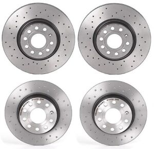Brembo Xtra Front & Rear Drilled Brake Disc Rotors Kit For Volkswagen Beetle GTI