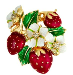 Napier Strawberry Plant Brooch Pin Enamel Fruit Flower Gold Tone NEW w Gift Box