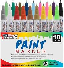 Art Supply 18 Color Set of Extra Fine Point Tip Oil Based Paint Pen Markers