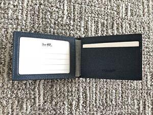 Men Coach Leather Logo Pass Case ID Slim Card Wallet Authentic Blue F59112