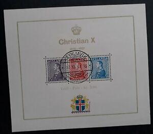 RARE 1941 Iceland 25th Anniv Reign of Christian X Minisheet Reykjavik cancel