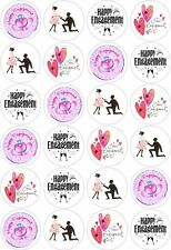 24 Engagement Cupcake Fairy Cake Toppers Edible Rice Wafer Paper Decorations