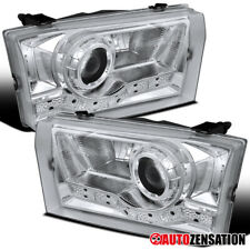 For 1999-2004 Ford F250 SMD LED DRL Clear Lens Projector Headlights Lamps Pair