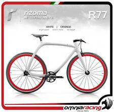 Rizoma R77 MetropolitanBike Single Speed Matt White Carbon Frame Orange Wheels