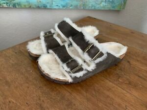 BIRKENSTOCK Arizona Shearling Suede Leather Sandals Dark Gray 39 US 8 Narrow