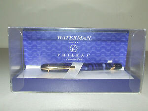 "Waterman Paris ""Phileas"" Blue Marble Fountain Pen Med. Point New Unused with Box"