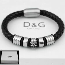 "DG Men's 8"" Stainless Steel.Skull Black Braided Leather.Magnetic,Bracelet**BOX"
