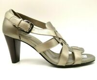 Cole Haan Air Gold Leather Slip On Buckle Block Heel Dress Shoes Women's 9 B